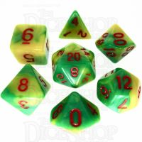 TDSO Duel Green & Yellow With Red 7 Dice Polyset - Discontinued