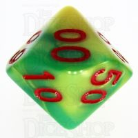 TDSO Duel Green & Yellow With Red Percentile Dice - Discontinued