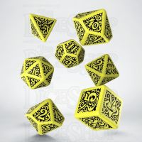 Q Workshop Cthulhu The Outer Gods Hastur Yellow & Black 7 Dice Polyset