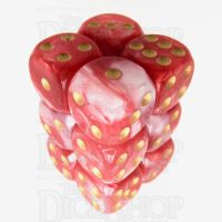TDSO Duel Red & White With Gold 12 x D6 Dice Set