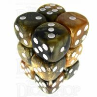 TDSO Duel Black & Gold With White 12 x D6 Dice Set