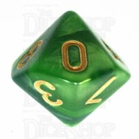 TDSO Duel Dark Green & Pearl Light Green D10 Dice