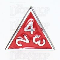 TDSO Metal Fire Forge Silver & Red Enamel D4 Dice