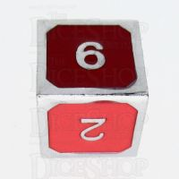 TDSO Metal Fire Forge Silver & Red Enamel D6 Dice