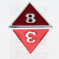 TDSO Metal Fire Forge Silver & Red Enamel D8 Dice