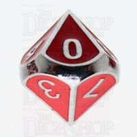 TDSO Metal Fire Forge Silver & Red Enamel D10 Dice
