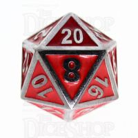 TDSO Metal Fire Forge Silver & Red Enamel D20 Dice