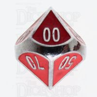 TDSO Metal Fire Forge Silver & Red Enamel Percentile Dice