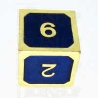 TDSO Metal Fire Forge Gold & Blue Enamel D6 Dice