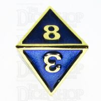 TDSO Metal Fire Forge Gold & Blue Enamel D8 Dice