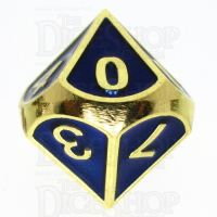 TDSO Metal Fire Forge Gold & Blue Enamel D10 Dice
