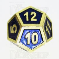 TDSO Metal Fire Forge Gold & Blue Enamel D12 Dice
