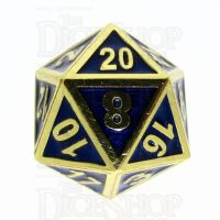 TDSO Metal Fire Forge Gold & Blue Enamel D20 Dice