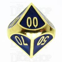 TDSO Metal Fire Forge Gold & Blue Enamel Percentile Dice