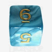 TDSO Pearl Teal & Gold D6 Dice