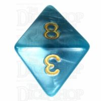 TDSO Pearl Teal & Gold D8 Dice