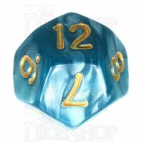 TDSO Pearl Teal & Gold D12 Dice