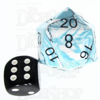 TDSO Turquoise Blue & White Synthetic with Engraved Black Numbers JUMBO 30mm Precious Gem D20 Dice