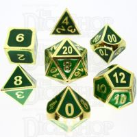 TDSO Metal Fire Forge Gold & Green Enamel 7 Dice Polyset