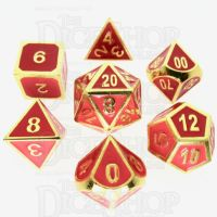 TDSO Metal Fire Forge Gold & Red Enamel 7 Dice Polyset