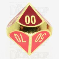 TDSO Metal Fire Forge Gold & Red Enamel Percentile Dice