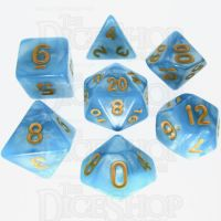TDSO Pearl Light Blue & Yellow 7 Dice Polyset