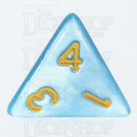 TDSO Pearl Light Blue & Yellow D4 Dice