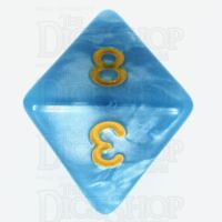 TDSO Pearl Light Blue & Yellow D8 Dice