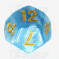 TDSO Pearl Light Blue & Yellow D12 Dice