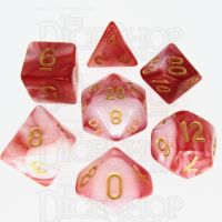 TDSO Duel Red & White With Gold 7 Dice Polyset