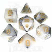 TDSO Duel Steel & White 7 Dice Polyset