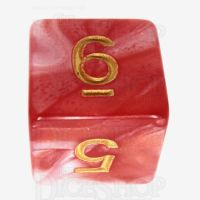 TDSO Duel Red & White With Gold D6 Dice