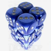 Würfelzeit Silkki Satin Blue & Silver 12 X D6 Dice Set