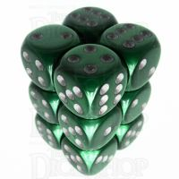 Würfelzeit Silkki Satin Green & Silver 12 X D6 Dice Set