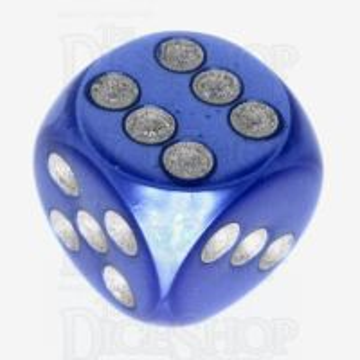 Würfelzeit Silkki Satin Blue & Silver 16mm D6 Spot Dice