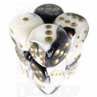 Würfelzeit Alyen Vision White & Black 12 x D6 Dice Set