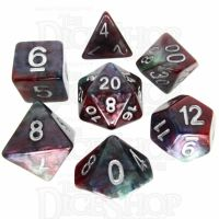 TDSO Marbleised Red Green & Blue 7 Dice Polyset