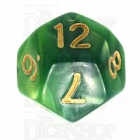 TDSO Duel Dark Green & Pearl Light Green D12 Dice