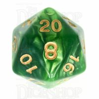 TDSO Duel Dark Green & Pearl Light Green D20 Dice