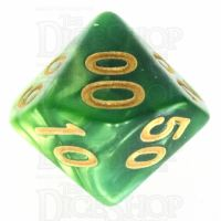 TDSO Duel Dark Green & Pearl Light Green Percentile Dice