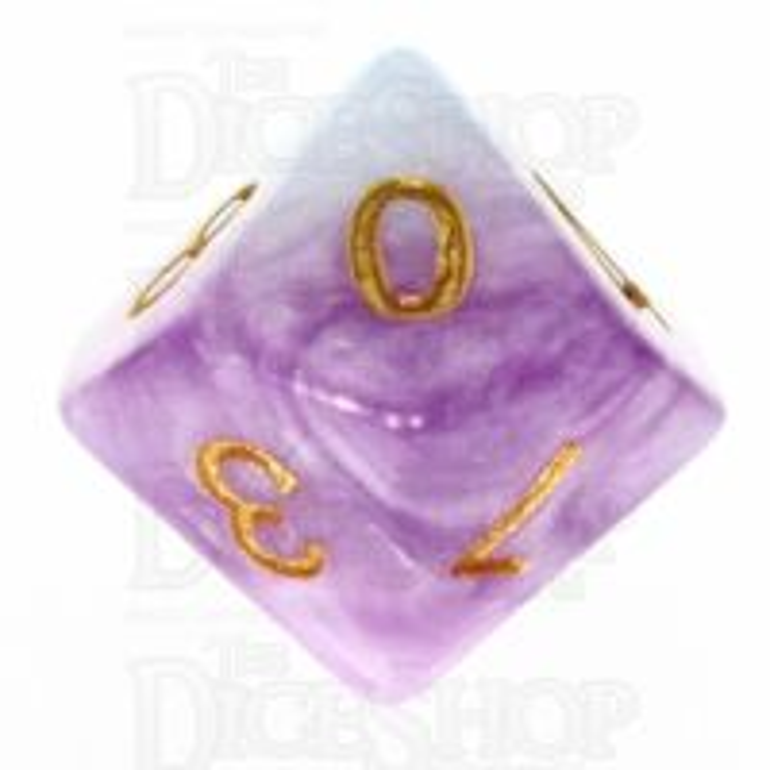 TDSO Marbleised Purple Blue & White D10 Dice