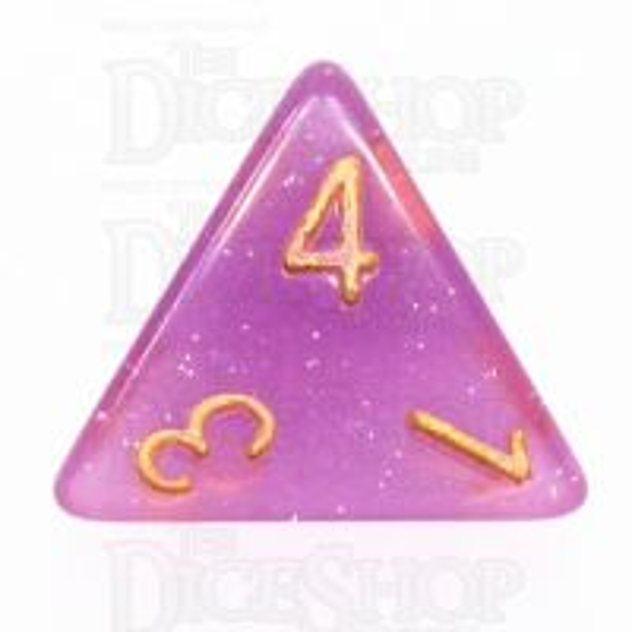 TDSO Translucent Glitter Purple D4 Dice
