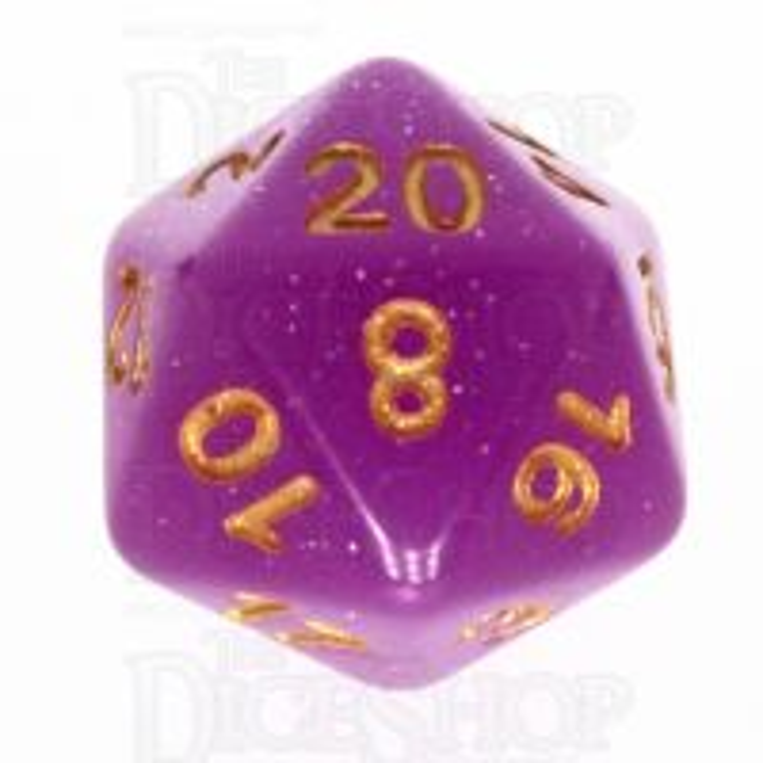 TDSO Translucent Glitter Purple D20 Dice