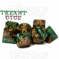 Halfsies Pearl Treant Forest Green & Bark Brown 7 Dice Polyset