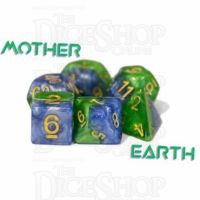 Halfsies Pearl Mother Earth Land Green & Sea Blue 7 Dice Polyset