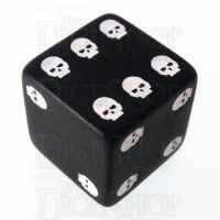 TDSO Opaque Black & White Skull Dice of Death D6 Spot Dice