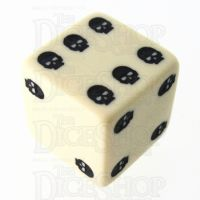 TDSO Opaque Ivory & Black Skull Dice of Death D6 Spot Dice