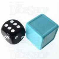 D&G Opaque Blank Aqua Indented 19mm D6 Dice - For Stickers