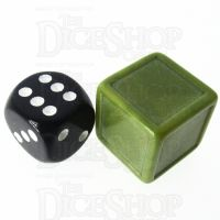 D&G Opaque Blank Khaki Indented 19mm D6 Dice - For Stickers