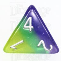 TDSO Layer Blue Green & Yellow Glitter D4 Dice
